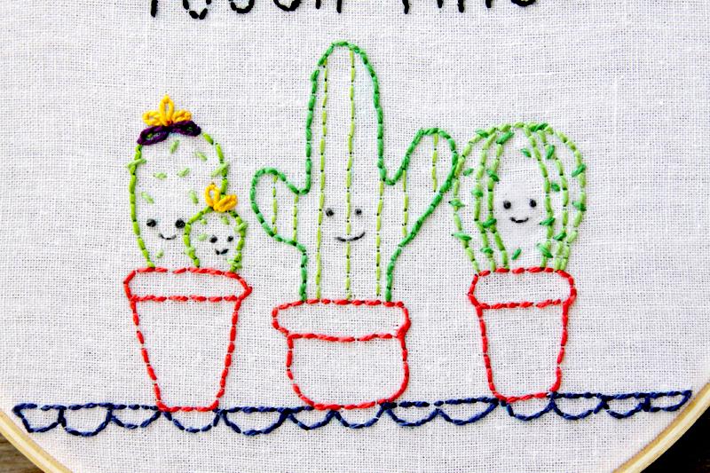 Cactus Embroidery Hoop Art