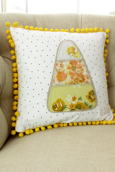 Colorful Fall Candy Corn Pillow