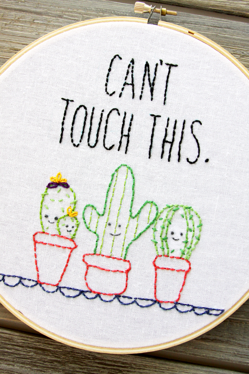 Cute Cactus Embroidery Hoop Art