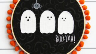 Boo-yah! Cute Ghosties Embroidery Hoop Art