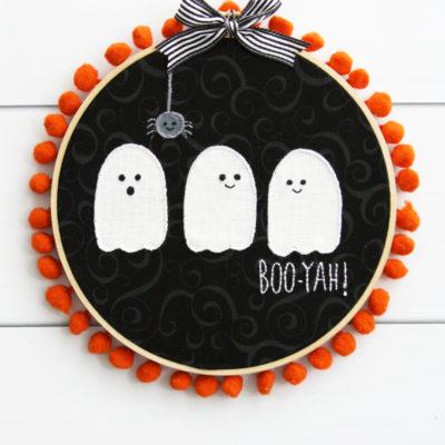 Boo-yah! Cute Ghosties Embroidery Hoop Art