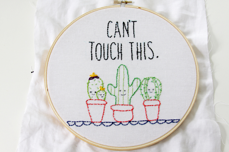 Fun Cactus Embroidery Hoop Art