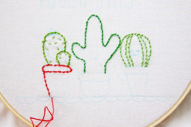 Stitching Cactus Embroidery