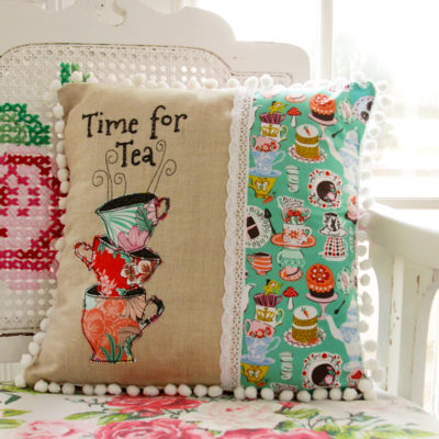 Time for Tea – Wonderland Fabric Pillow