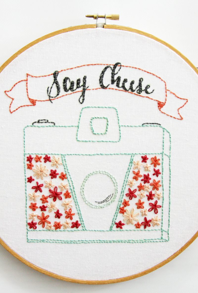 Say cheese retro floral camera embroidery pattern vintage camera embroidery pattern bankloansurffo Choice Image