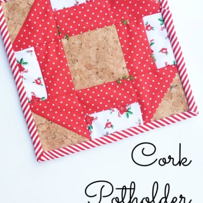 Embroidered Mesh Candle Wrap and Pieced Cork Potholder