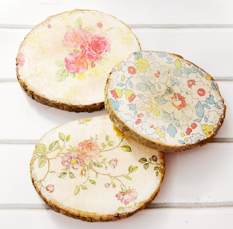Rustic Floral Wood Slice Coasters
