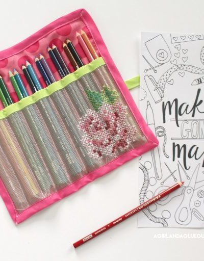 Cute Cork Zipper Pouch and Mesh Pencil Roll