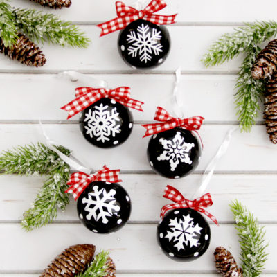 Chalk Style Snowflake Ornaments and Huge Giveaway