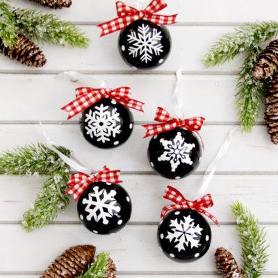 Chalk Style Snowflake Vinyl Ornaments