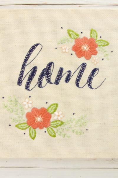 Floral Home Embroidered Artwork