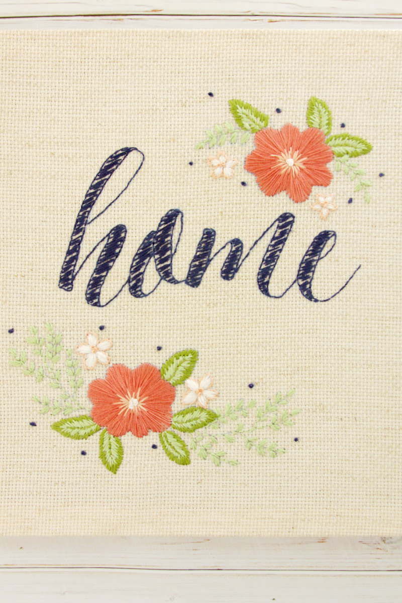 Floral Home Embroidered Artwork