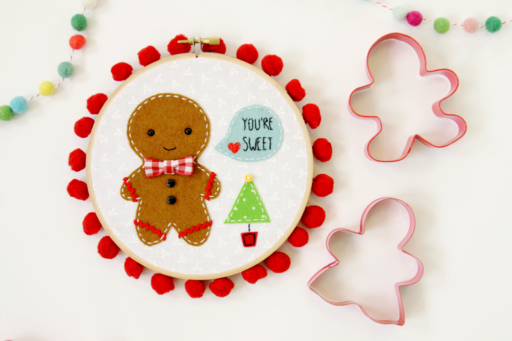 Sweet Gingerbread Embroidery Hoop Art