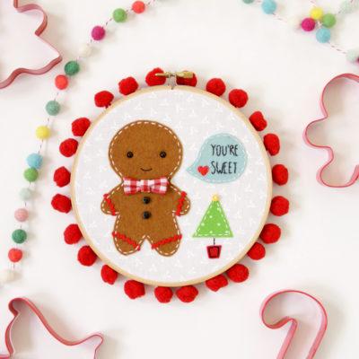 Sweet Gingerbread Embroidery Hoop Art