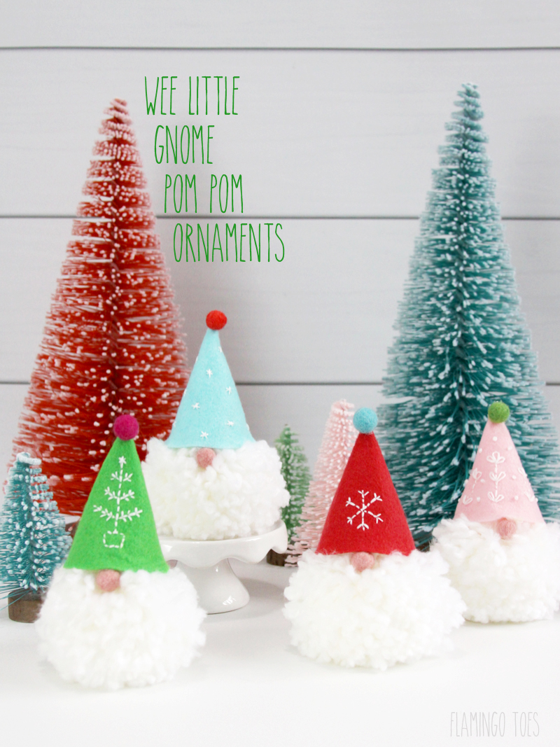 wee little gnome pom pom ornaments - Gnome Christmas Decorations