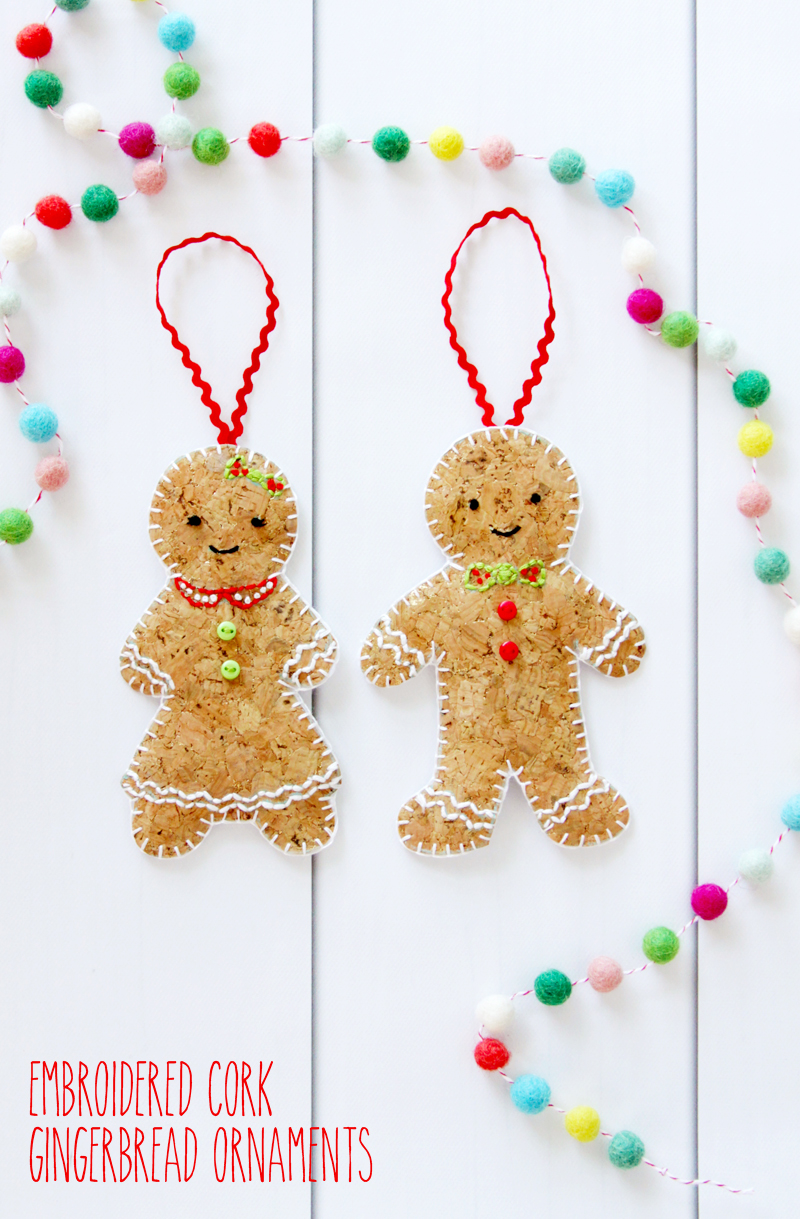 Embroidered Cork Gingerbread Ornaments - these are so cute! | Fabulous and Fun DIY Christmas Ornaments by popular Tennessee craft blog, Flamingo Toes: image of embroidered cork gingerbread ornament.