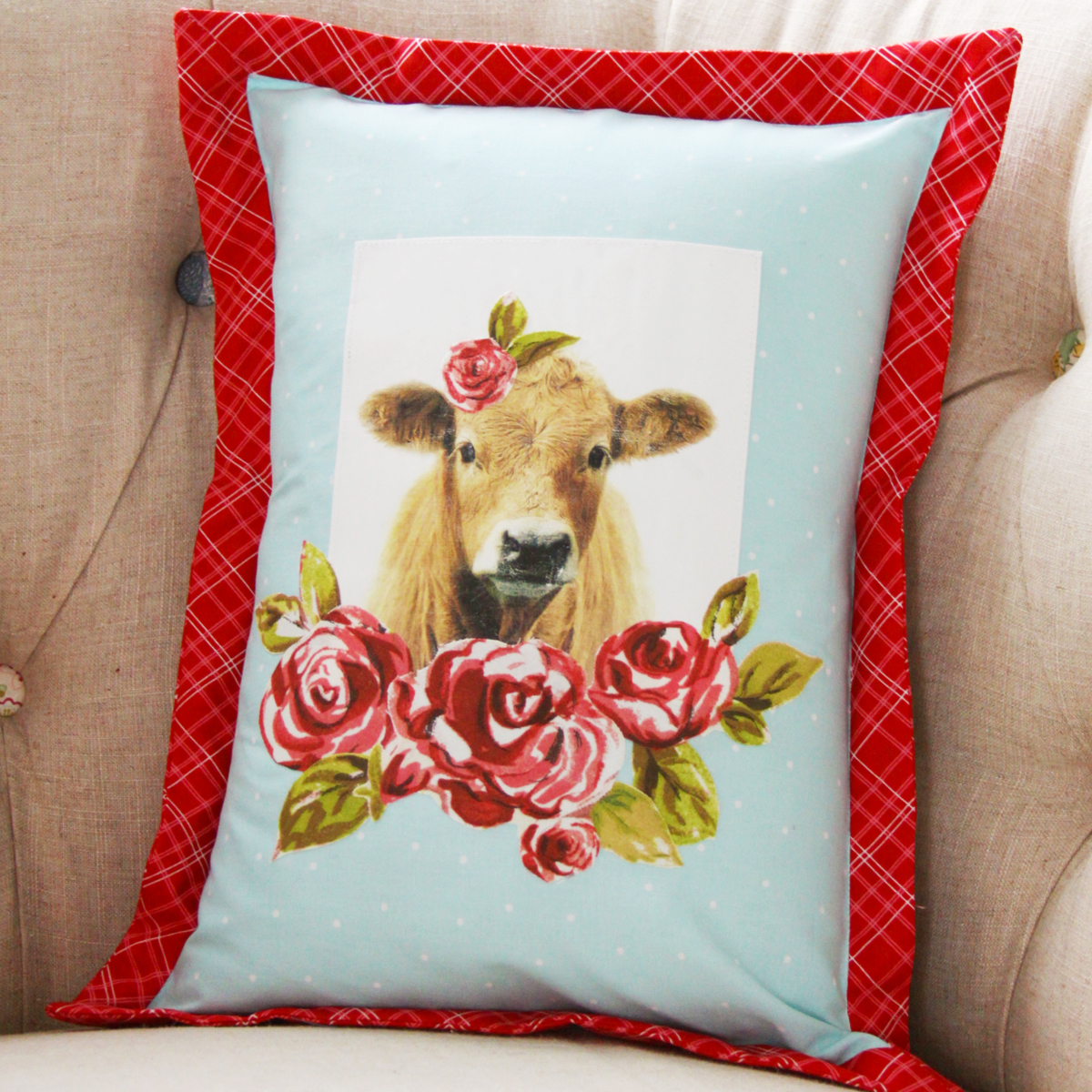 Farmhouse Floral Cow Pillow
