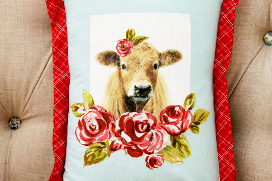 Sweet Floral Farmhouse Cow Pillow