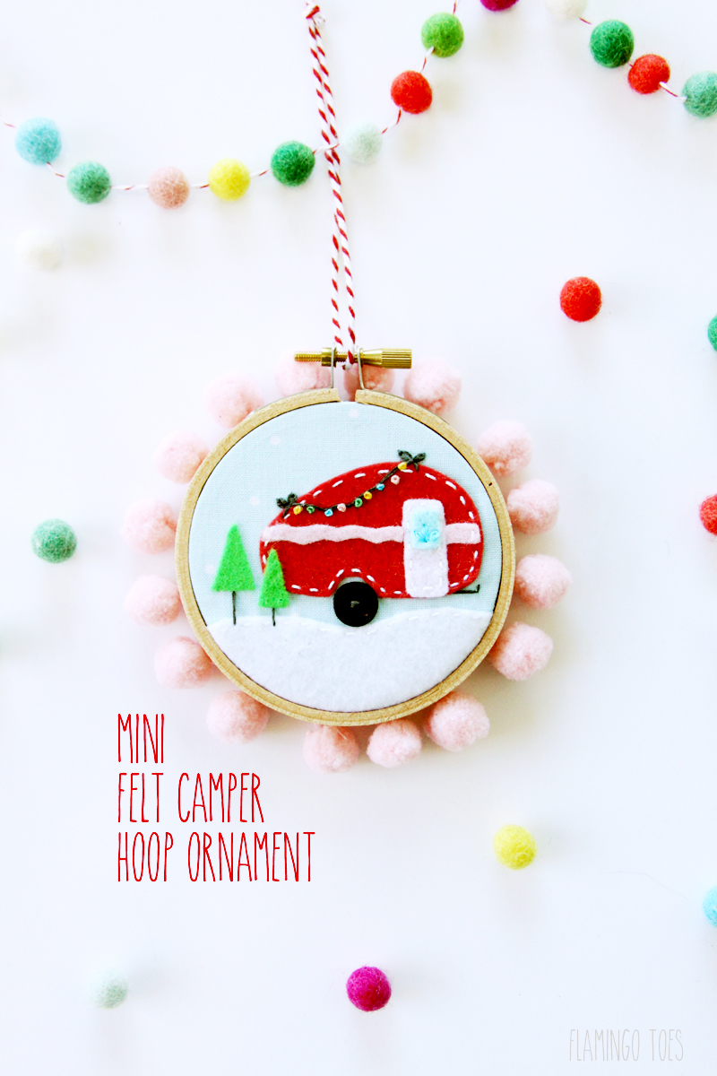 Mini Felt Camper Hoop Ornament | Fabulous and Fun DIY Christmas Ornaments by popular Tennessee craft blog, Flamingo Toes: image of felt camper ornament.