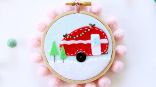 Mini Felt Camper Hoop Ornament