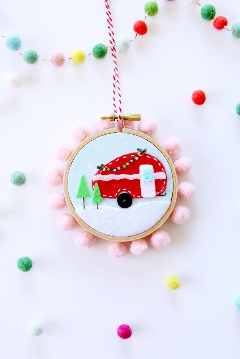Mini Felt Camper Hoop Ornament