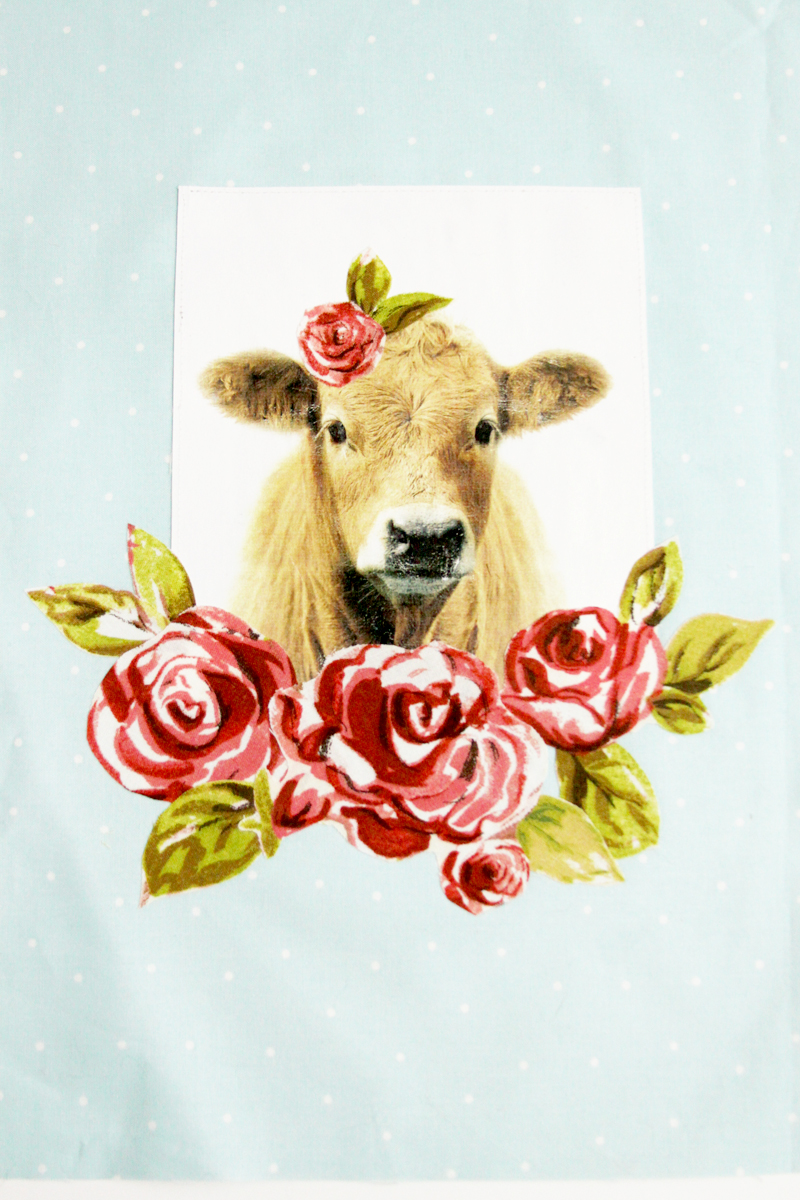 Watercolor Flowers and Cow Photo