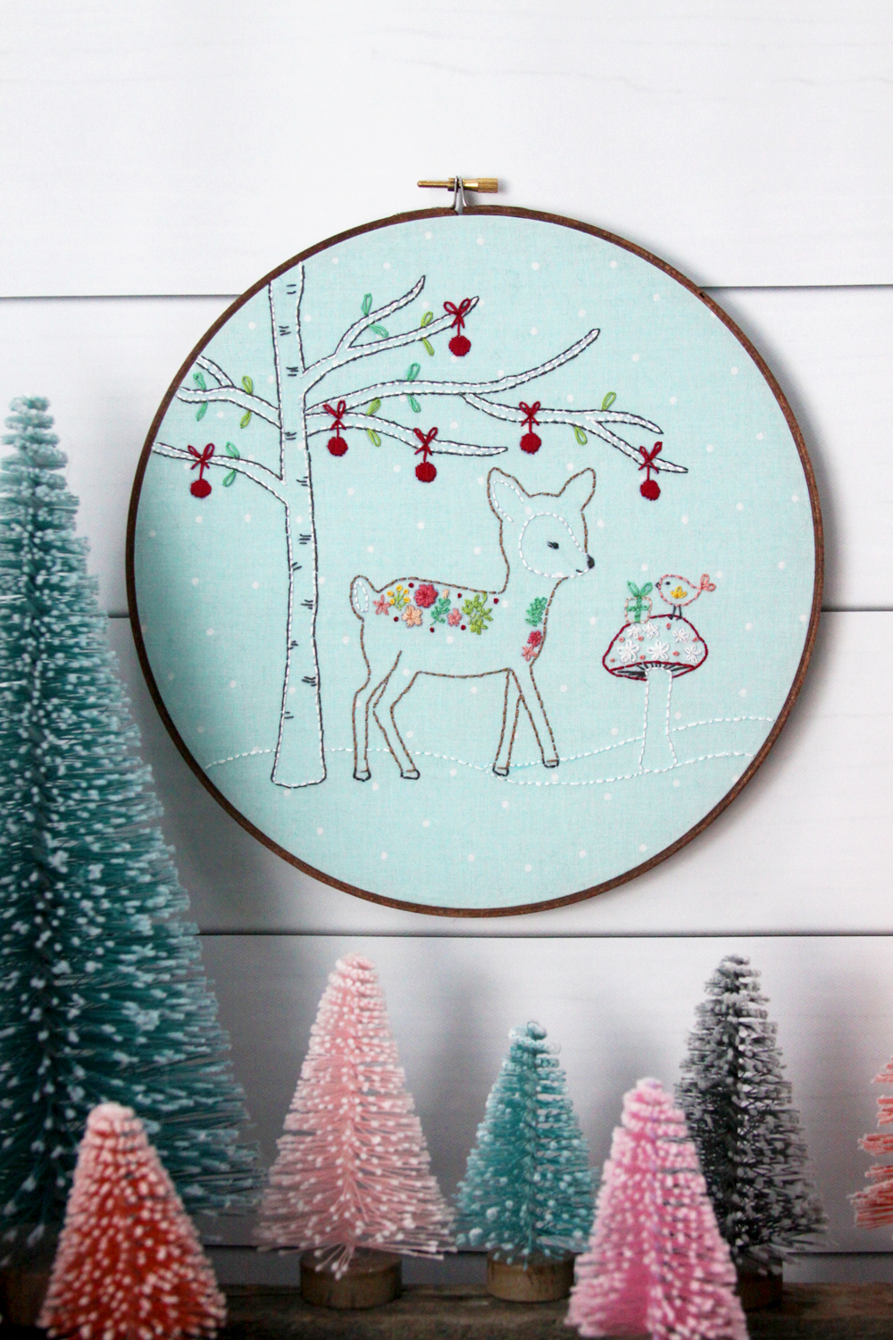 Winter Woodland Deer Embroidery