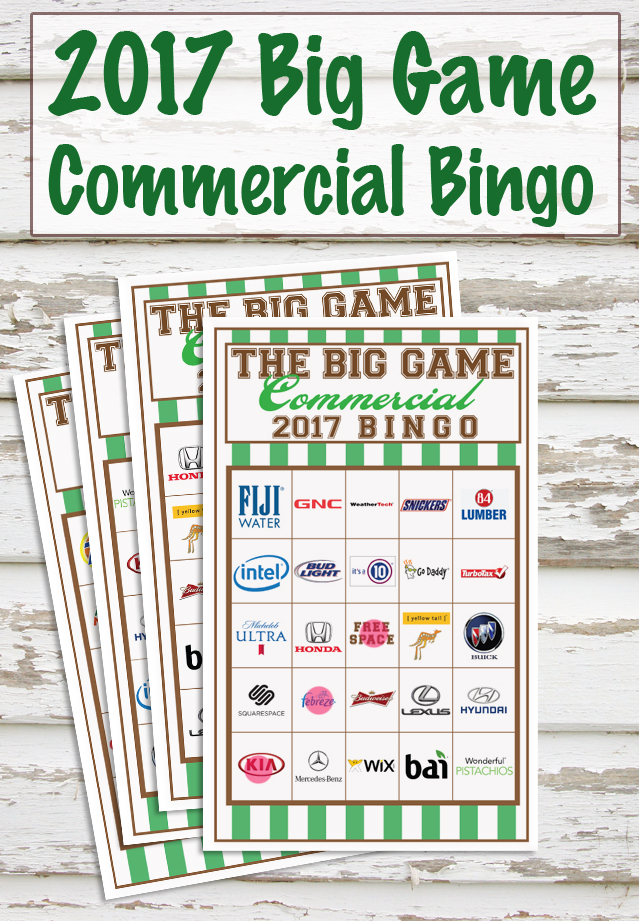 2017 Big Game Commercial Bingo