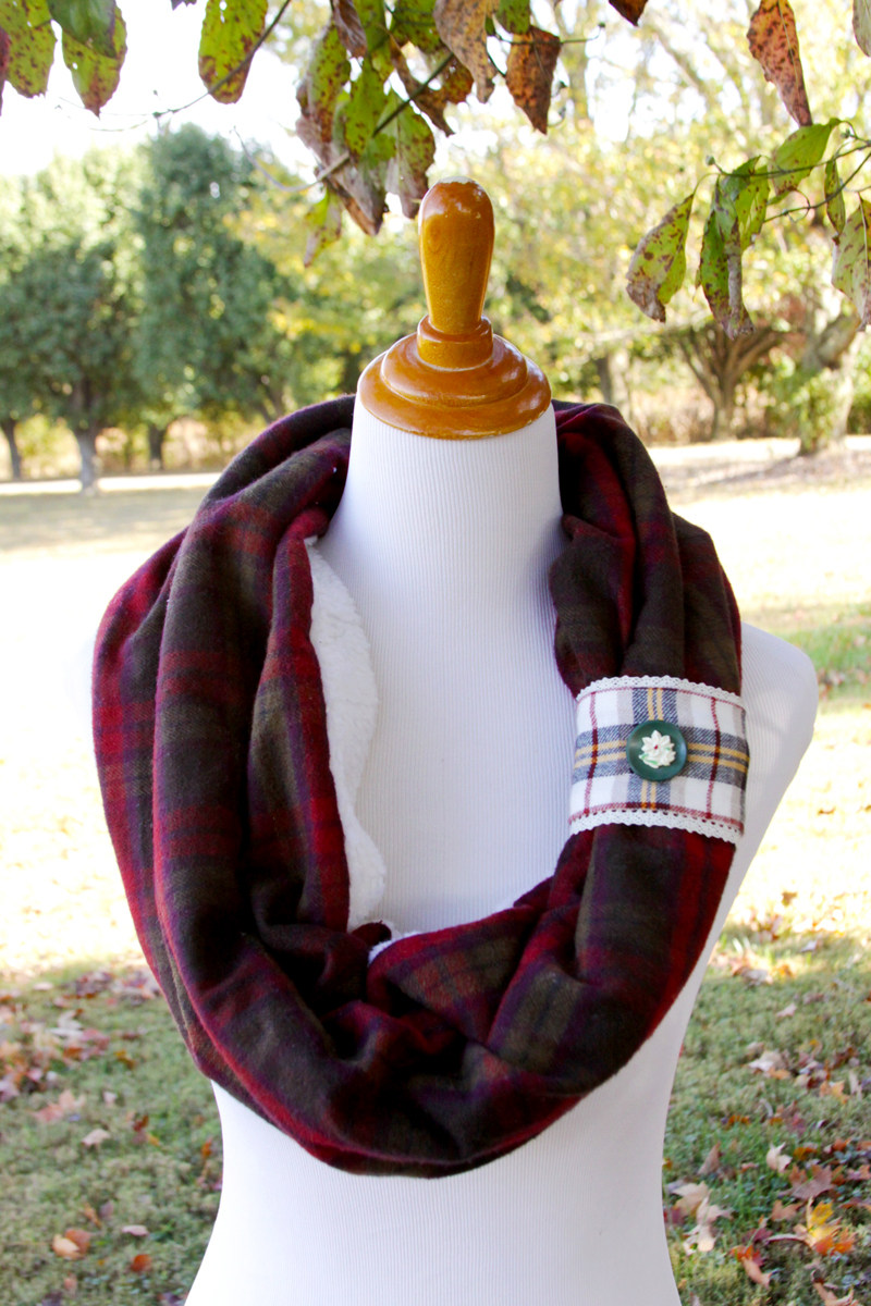 Cozy Plaid Flannel and Fleece Cowl Scarf