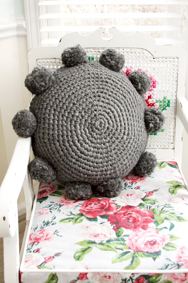 Pom Pom Crochet Pillow