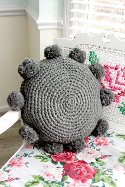 Pom Pom Crochet Pillow