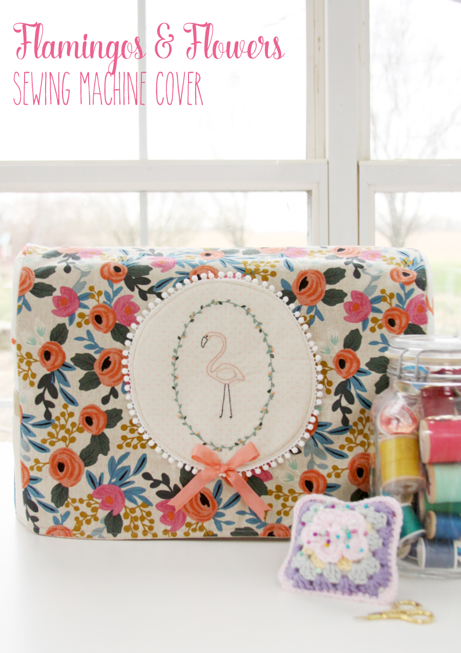 Floral Flamingo Sewing Machine Cover -