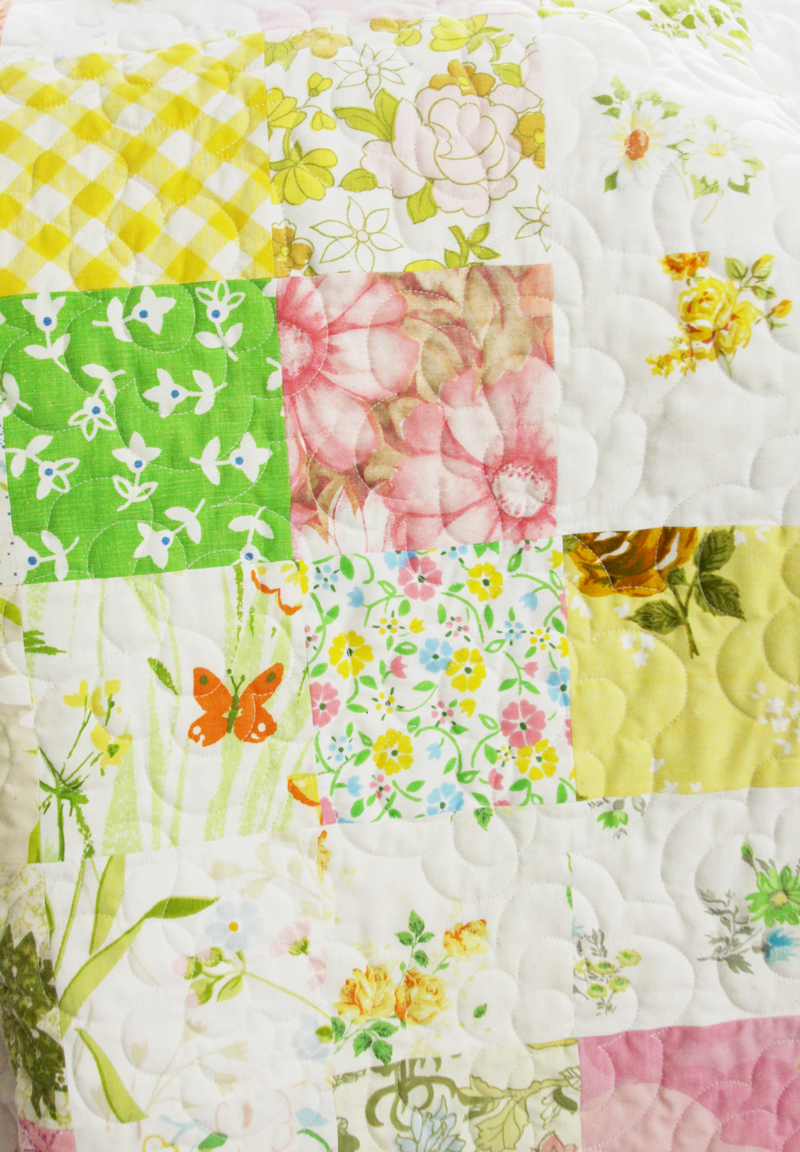 Pretty Vintage Sheet Charm Square Quilt