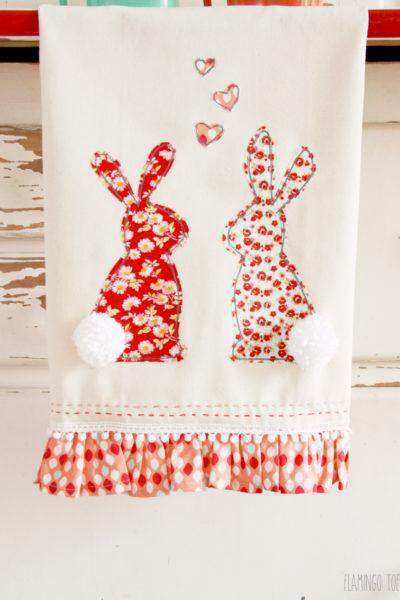 Sweet Floral Bunny Dishtowel