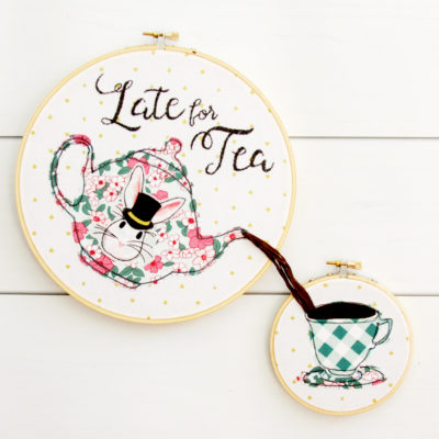 Late for Tea – Wonderland Embroidery Hoop Set