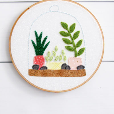 Felt Succulent Terrarium Hoop Art