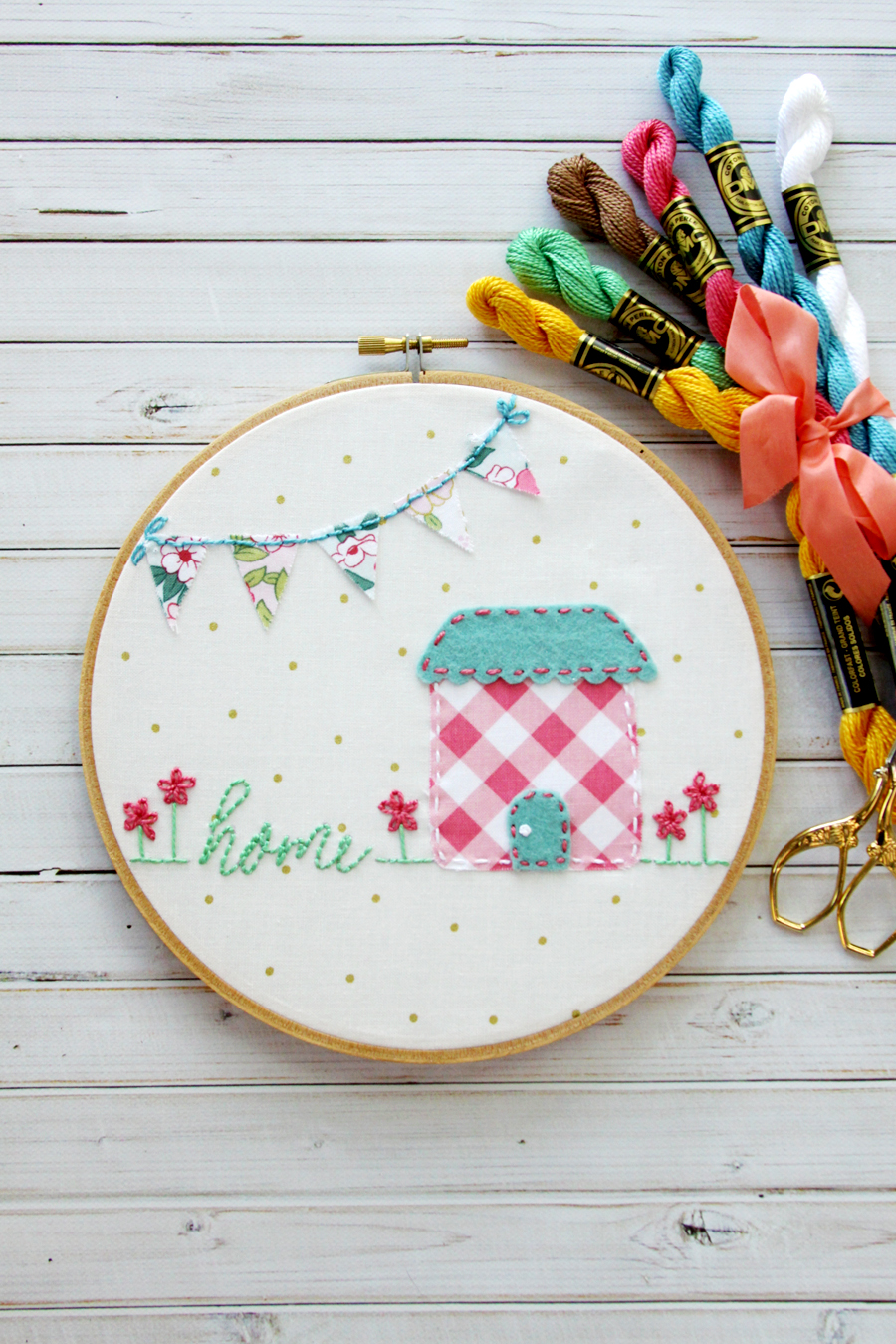 Sweet home embroidery hoop art for Jewelry making classes salt lake city