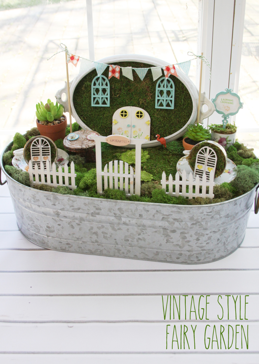 Vintage style fairy garden for Fairytale inspired home decor