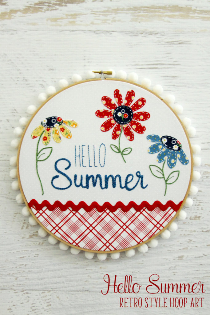 Hello Summer hoop wall art