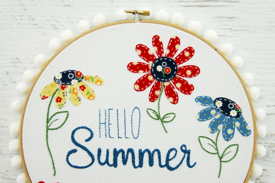 Hello Summer Retro Style Hoop Art