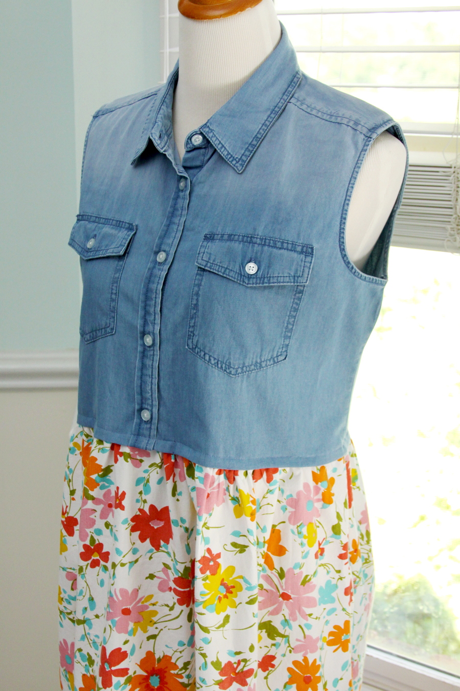 Denim Top to Dress Refashion