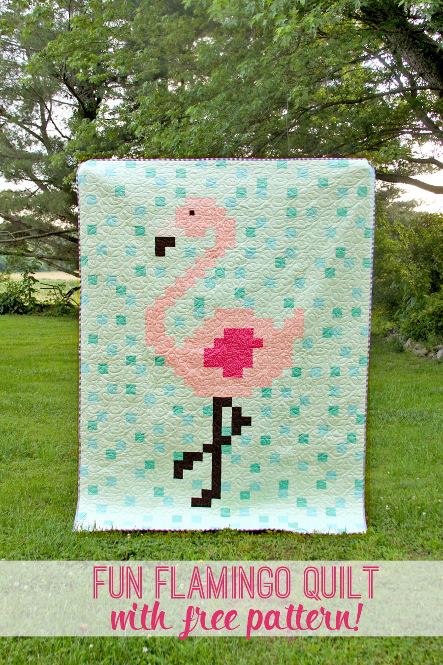 Fun Flamingo Quilt with Free Pattern