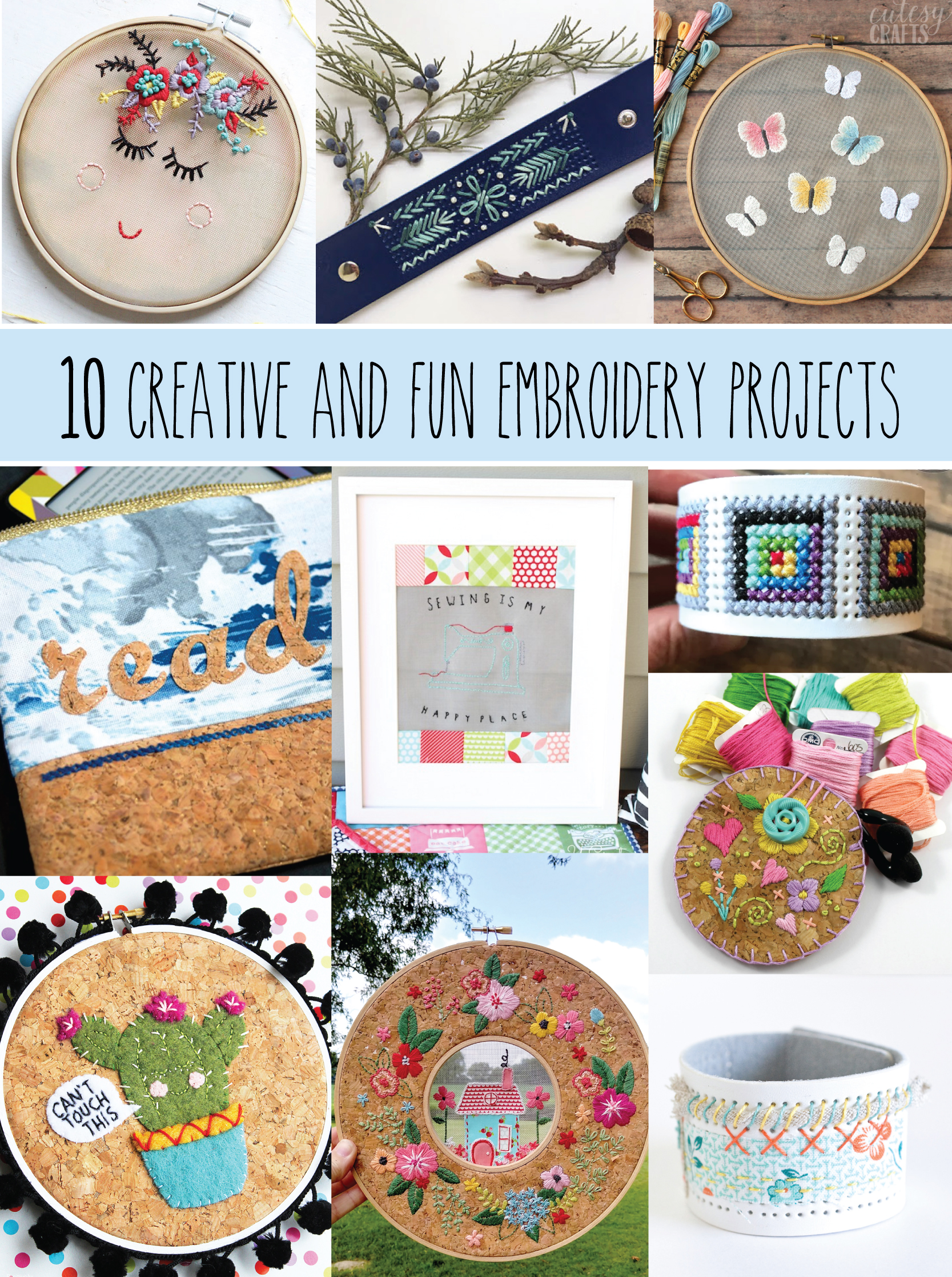 10 Creative and Fun Embroidery Projects - these free patterns are all so great!