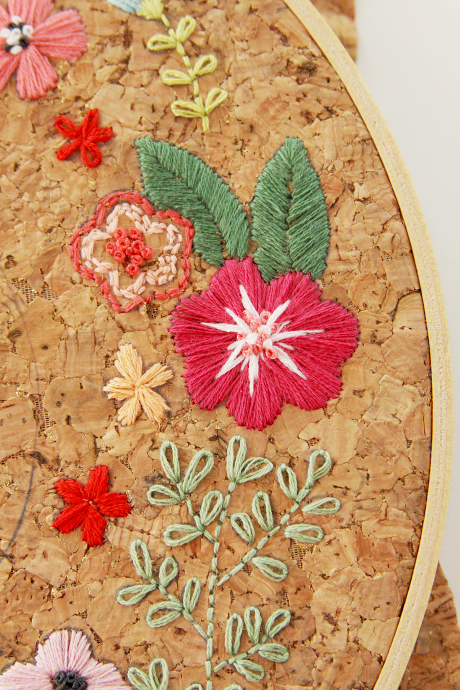 Floral home sweet hoop in a embroidery and