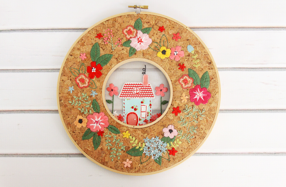 Floral Home Cork Hoop In A Hoop Embroidery