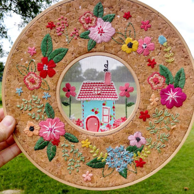 Floral Home Sweet Home Hoop in a Hoop Embroidery and Blog Hop
