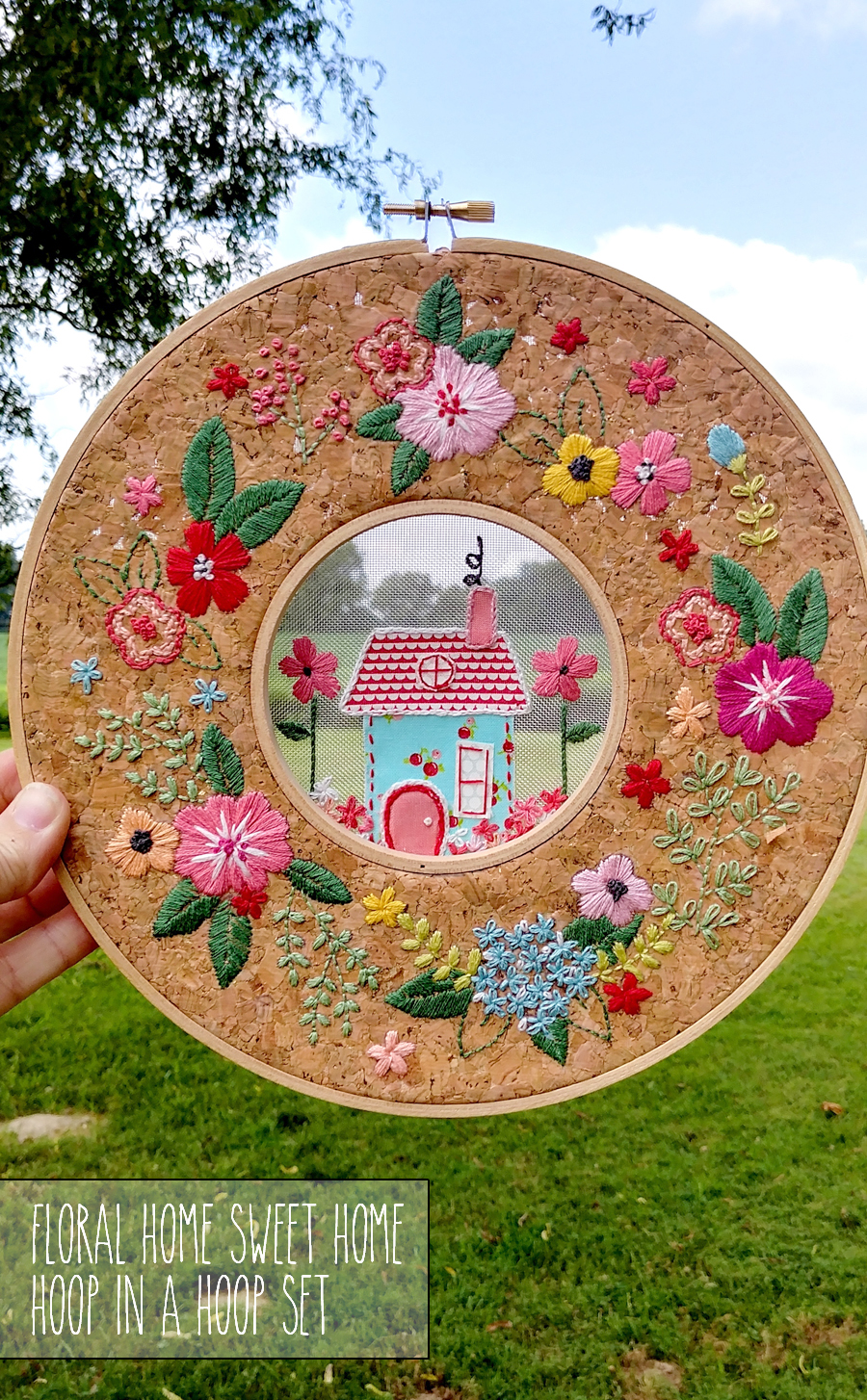 Floral Home Sweet Home Hoop in a Hoop Embroidery