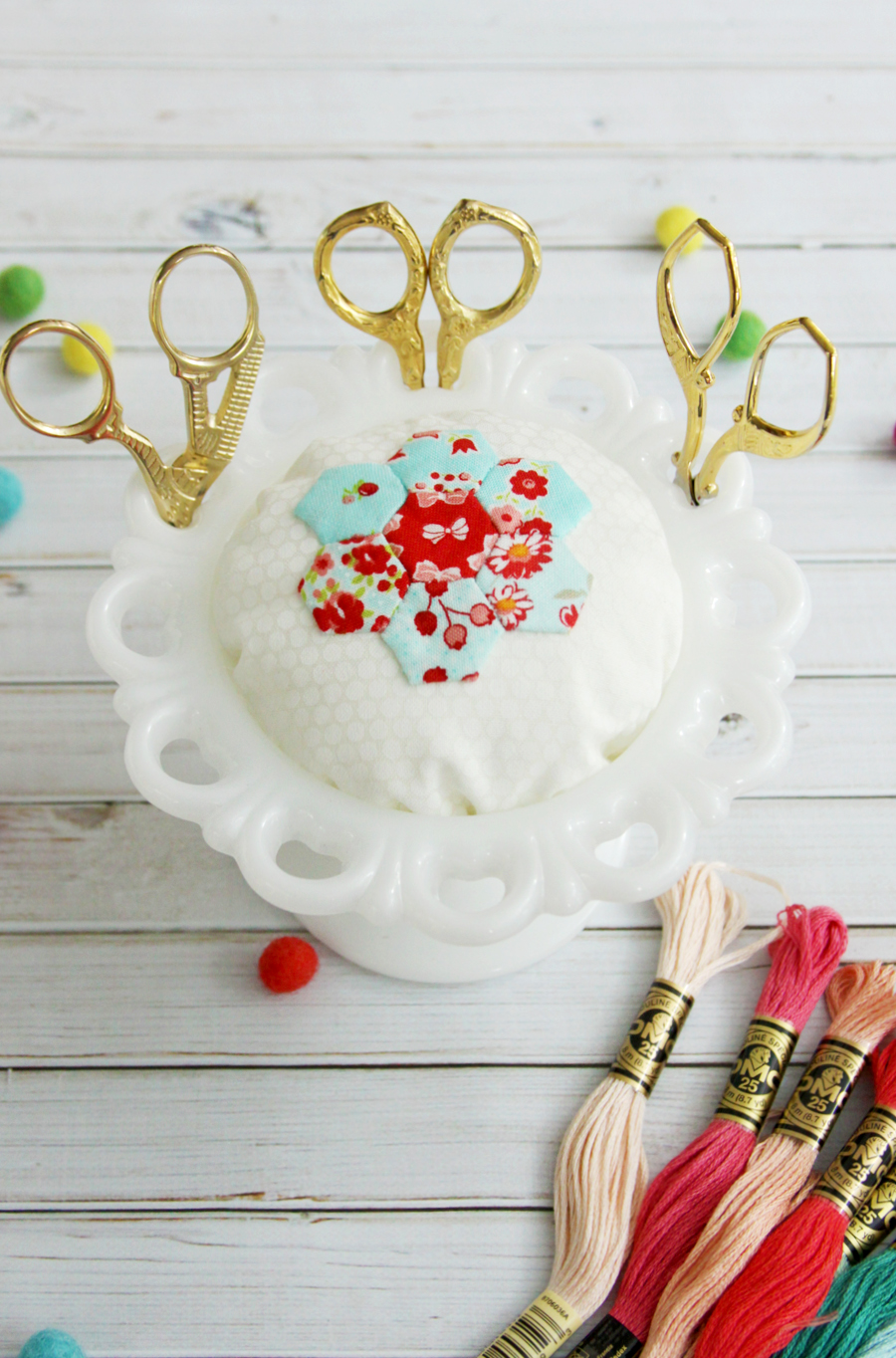 diy vintage milk glass pincushion