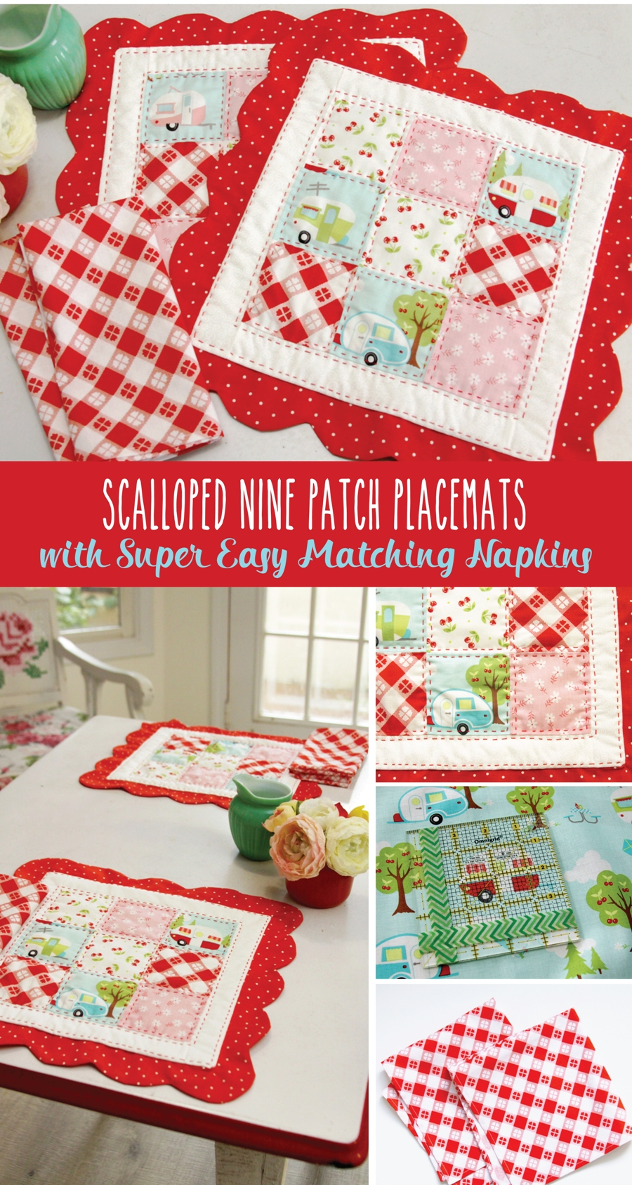 Free Pattern and Tutorial for Scalloped Nine Patch Placemats and cute matching napkins!