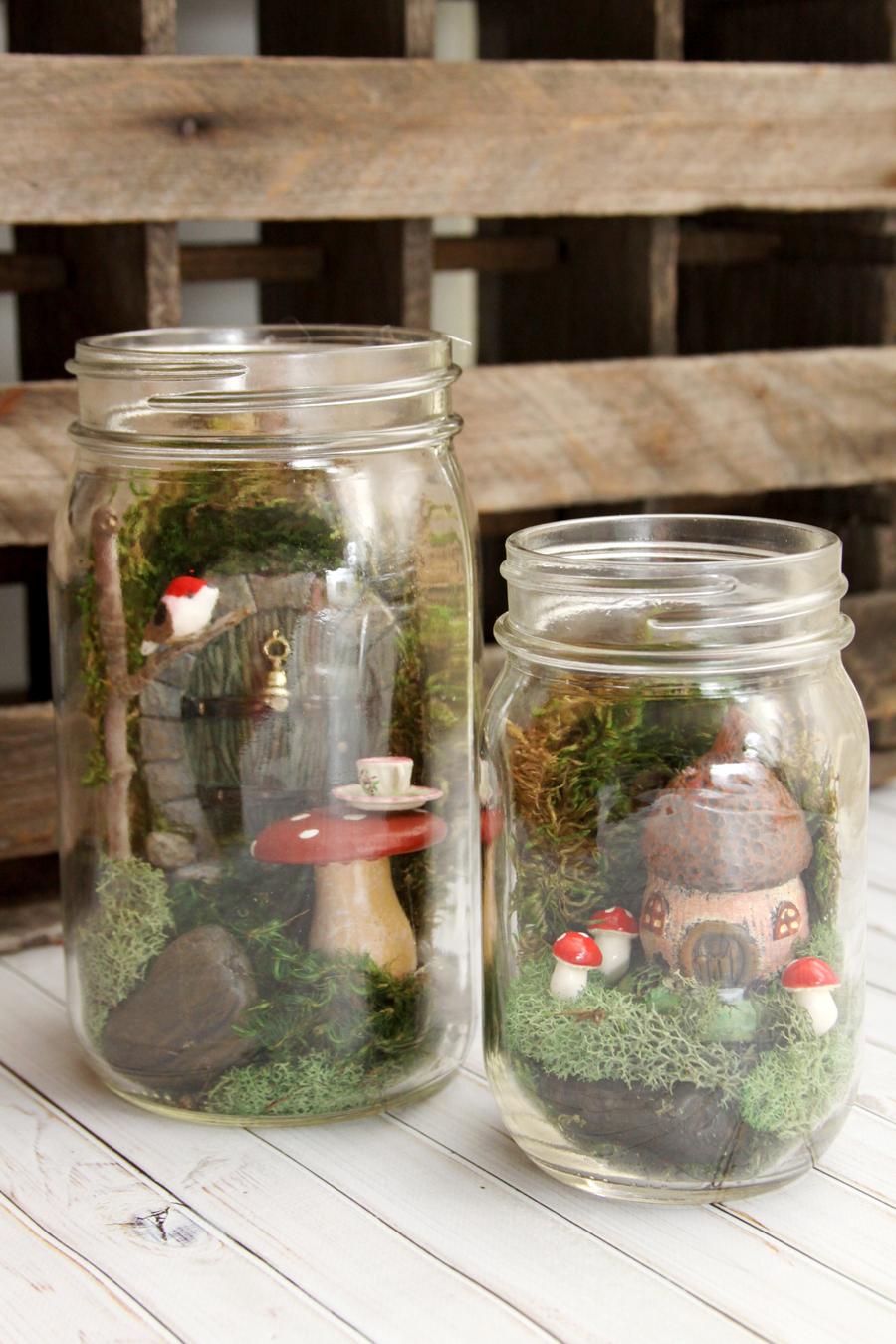 Simple and Sweet Mason Jar Fairy Gardens